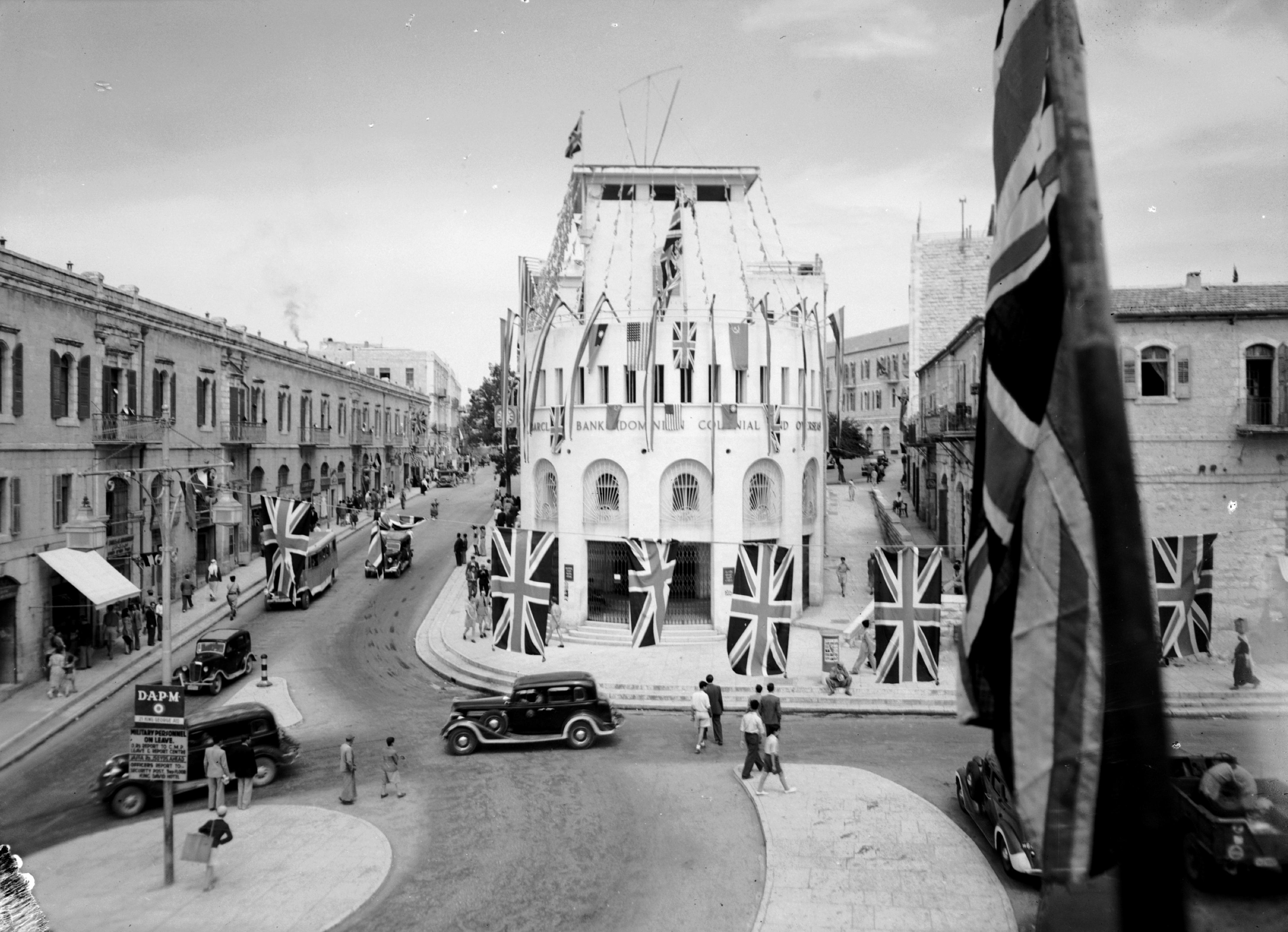 Barclay's Bank in Jerusalem, Palestine, on VE Day, May 8, 1945