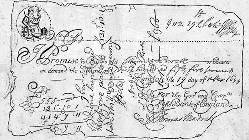 Oldest known British banknote 1699