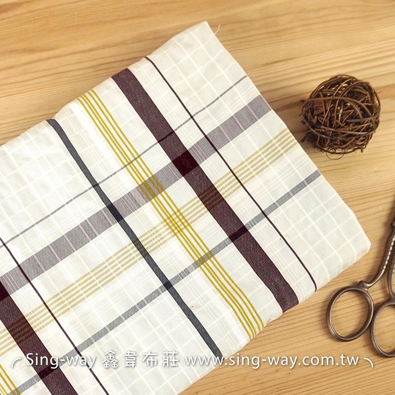 灰底灰黃線格 格紋 襯衫洋裝服裝布料 FC490399