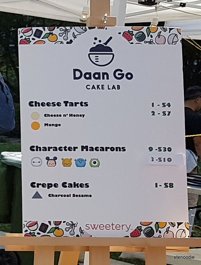 Daan Go Cake Lab menu