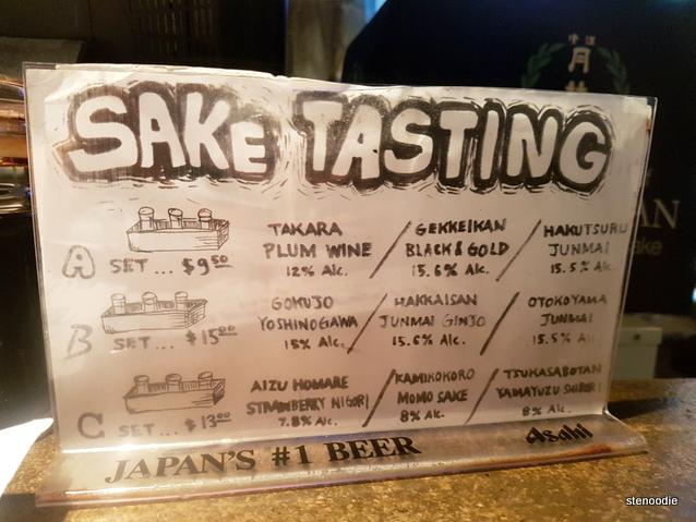 Don Don Izakaya sake tasting