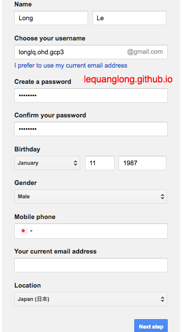 Create an account to use Google Cloud Platform – Le Quang Long
