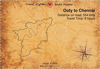 Map from Ooty to Chennai