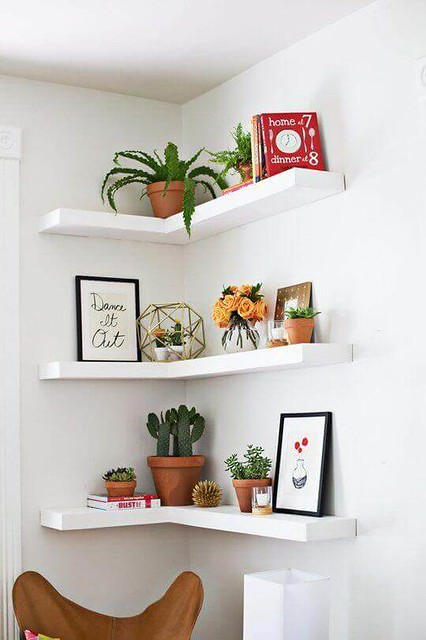 10 Dreamlike Corner Wall Shelves fro Bedroom