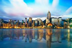 Hong Kong cityscape, Sunrise Twilight scene, victoria harbour