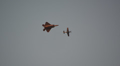 Lockheed Martin F-22A Raptor chasing a North American F-51D Mustang