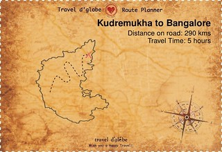 Map from Kudremukha to Bangalore