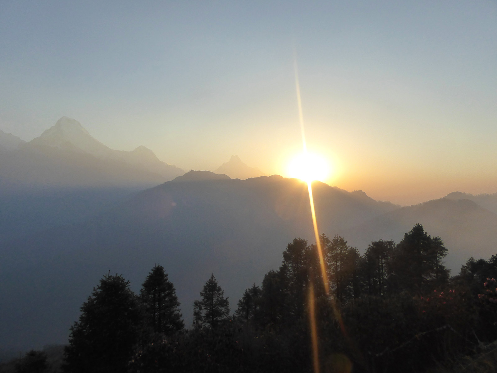 View of the major Himalayan Mountains around Annapurna at sunrise from Poon Hill in Nepal