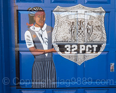 Detail of Garage Door Painting, NYPD Police Station Precinct 32, Central Harlem, New York City