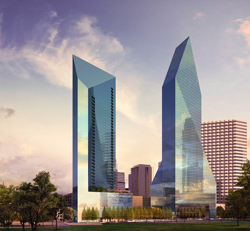 AMLI Fountain Place, 46 story residential tower, rendering from 06-01-17, currently under construction, Downtown Dallas