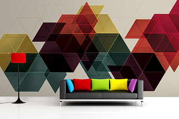 Geometric Wallpaper Mural at Stylish and Modern Living Room