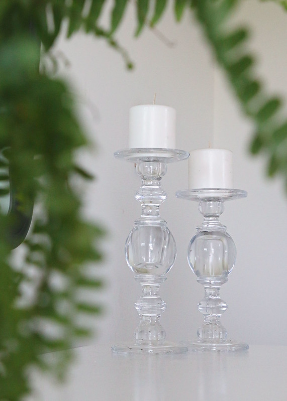 Fern and Glass Candle Holders