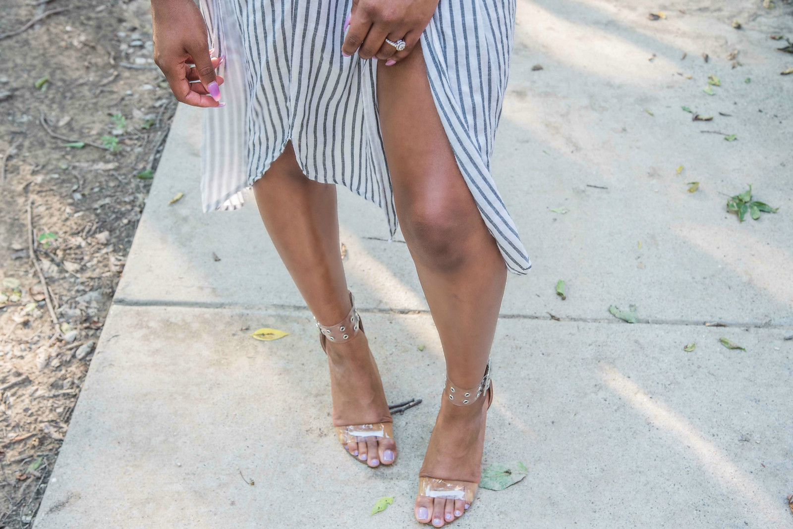 how to wear clear strap heels