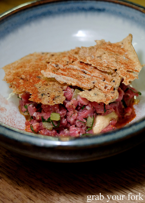 Flavours of goulash beef tartare at the Hungarian Jewish pop-up by Adam Wolfers at Bar Brose in Darlinghurst