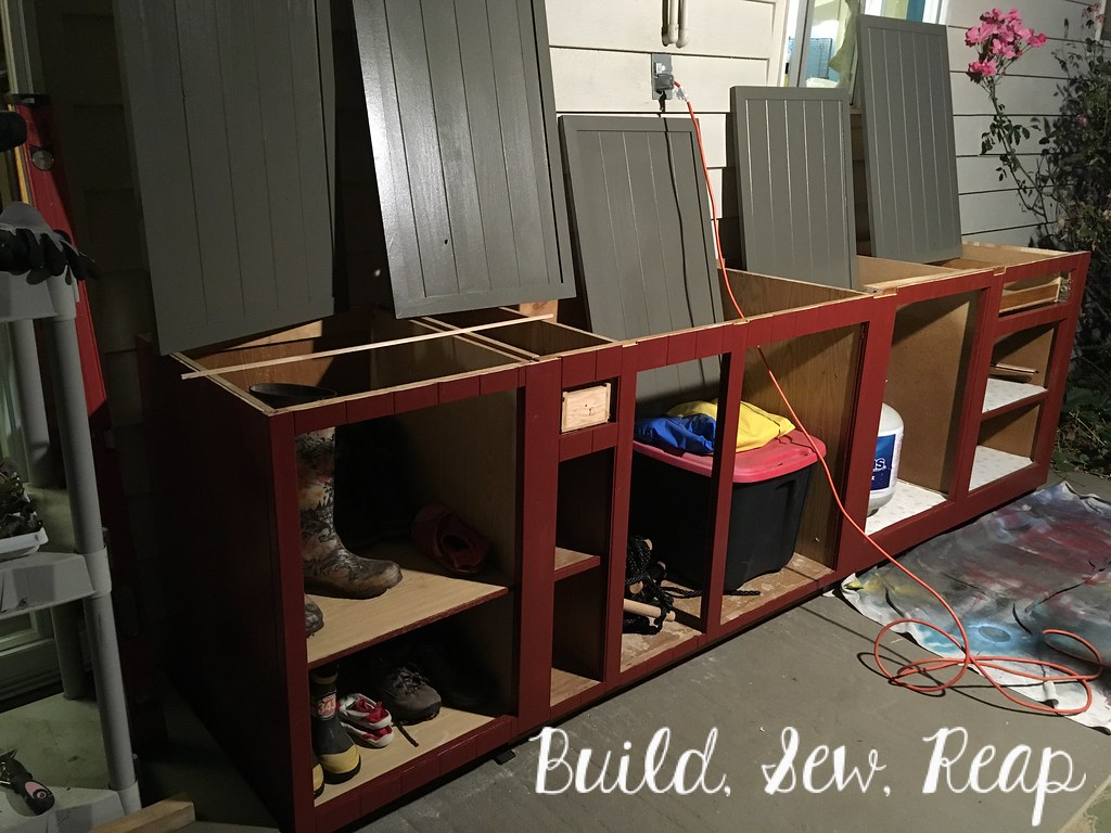 Patio storage cabinets DIY by Julie at Build, Sew, Reap