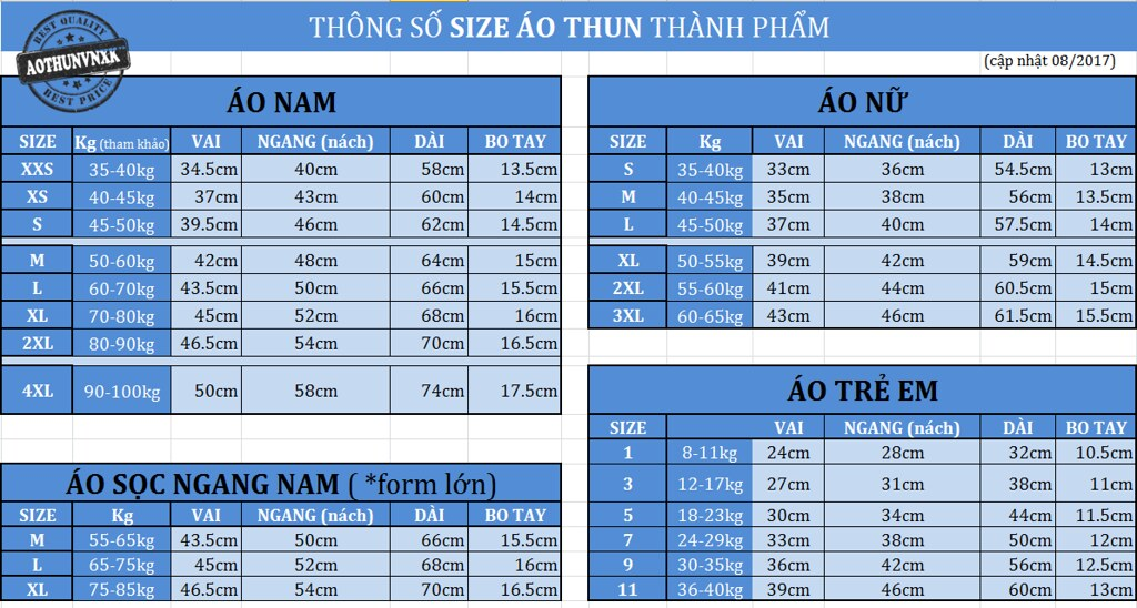 bang thong so size ao thun thanh pham