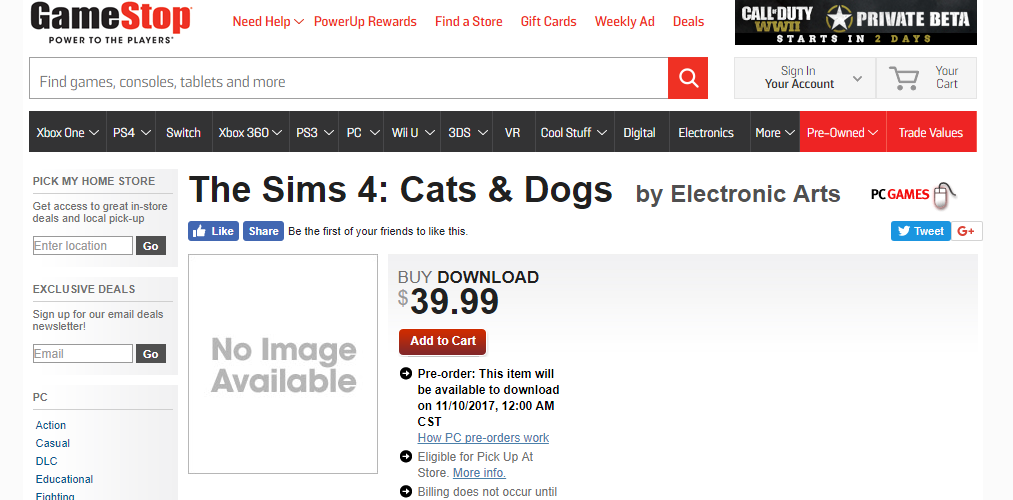 gamestop cats dogs