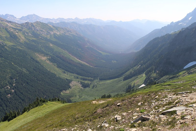 The Buck Creek valley from above on the High Pass Trail