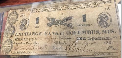 Exchange Bank of Columbus MS $1 banknote