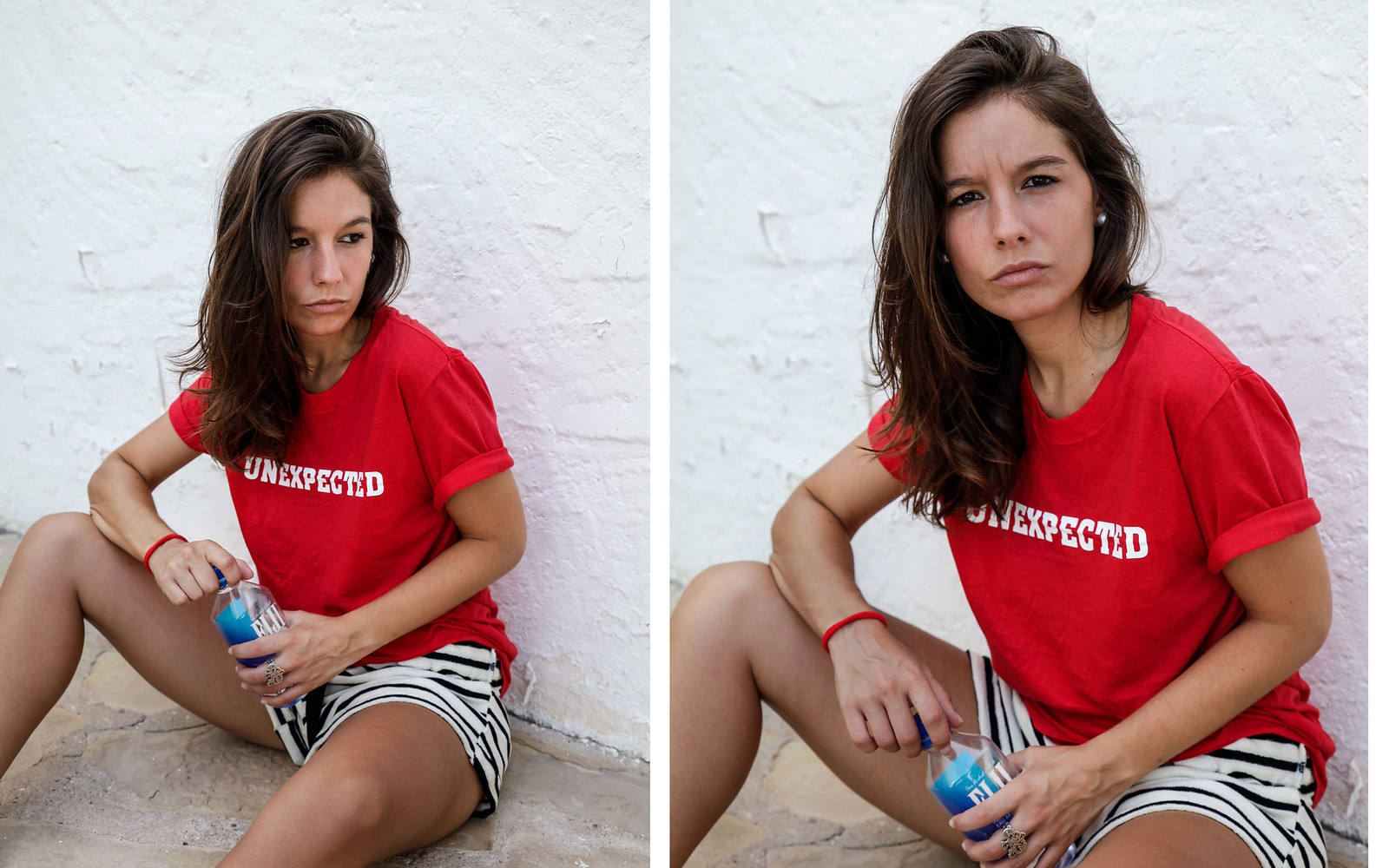 05_shorts_rayas_unexpected_shirt_stripes_shorts_pieces_unexpected_shirt_morinko_red_tshirt_style_theguestgirl_pieces_ootd_influencer_barcelona_verano_fiji_water.