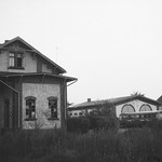 Trittau Kleinbahnhof und Lokschuppen mit HVV-Bussen 1969