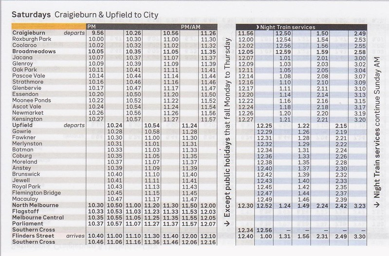 Craigieburn Upfield timetable August 2017