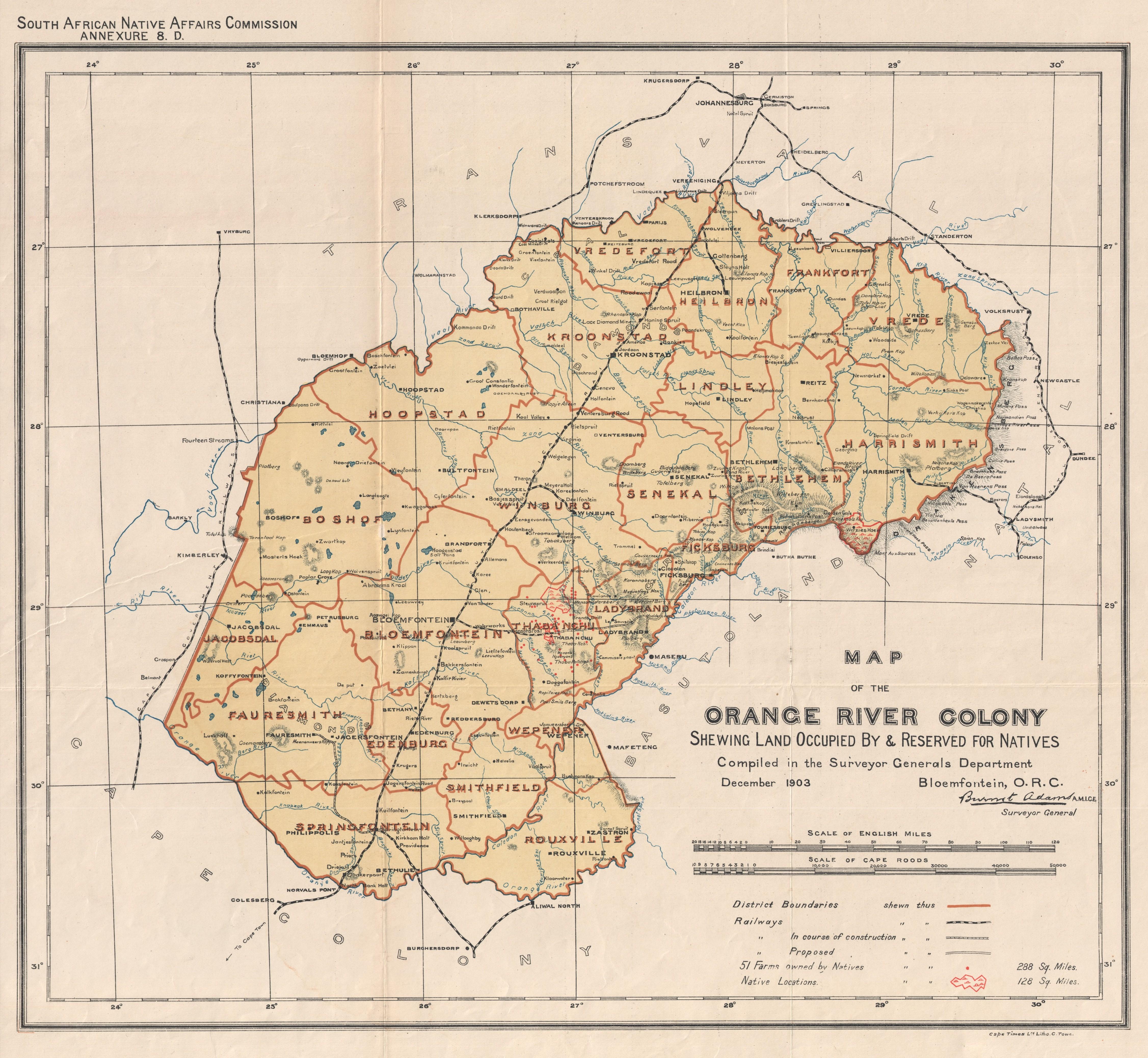 Map of Orange River Colony, 1903