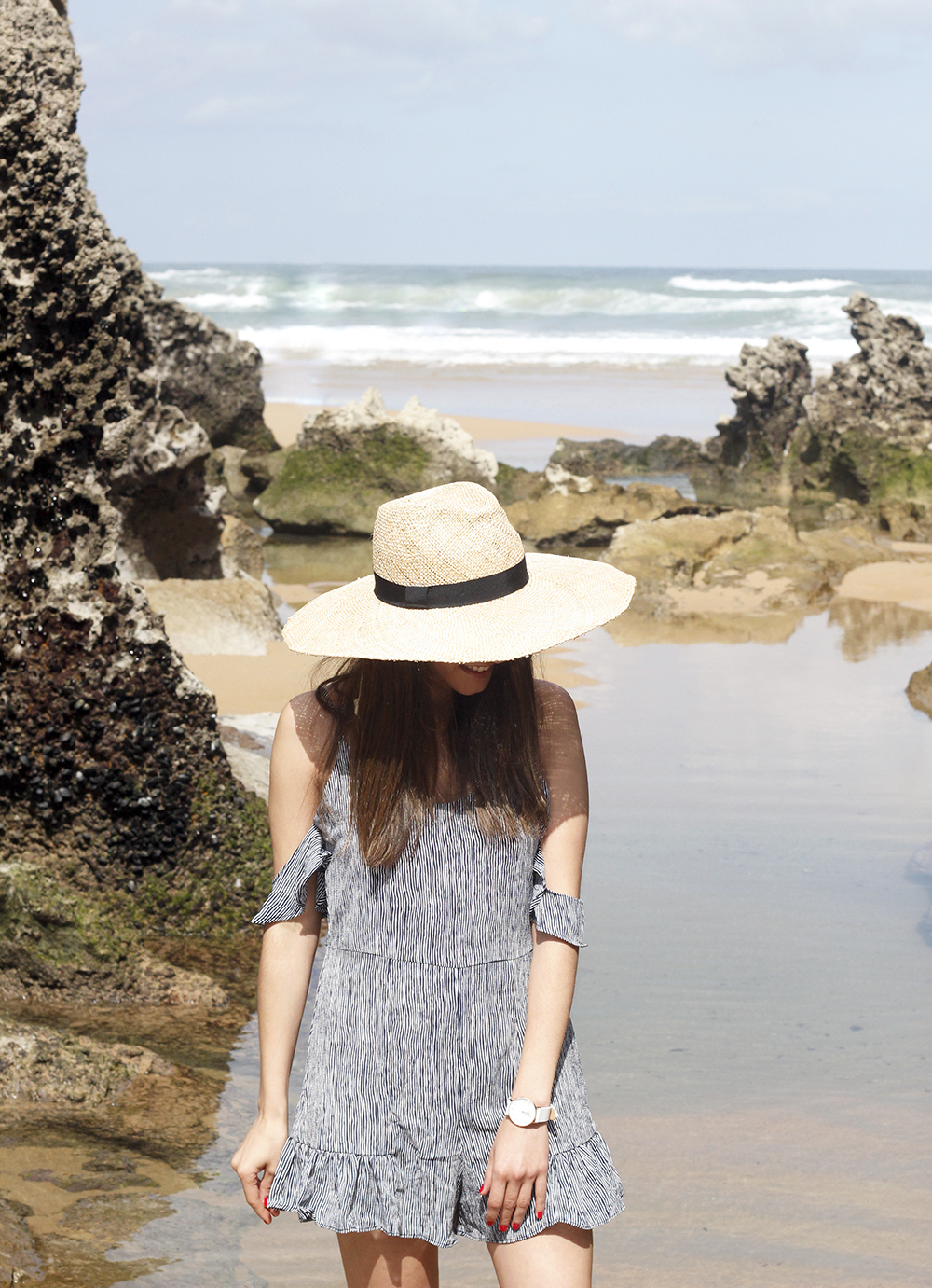 striped jumpsuit beach days vacation hat summer outfit style fashion11