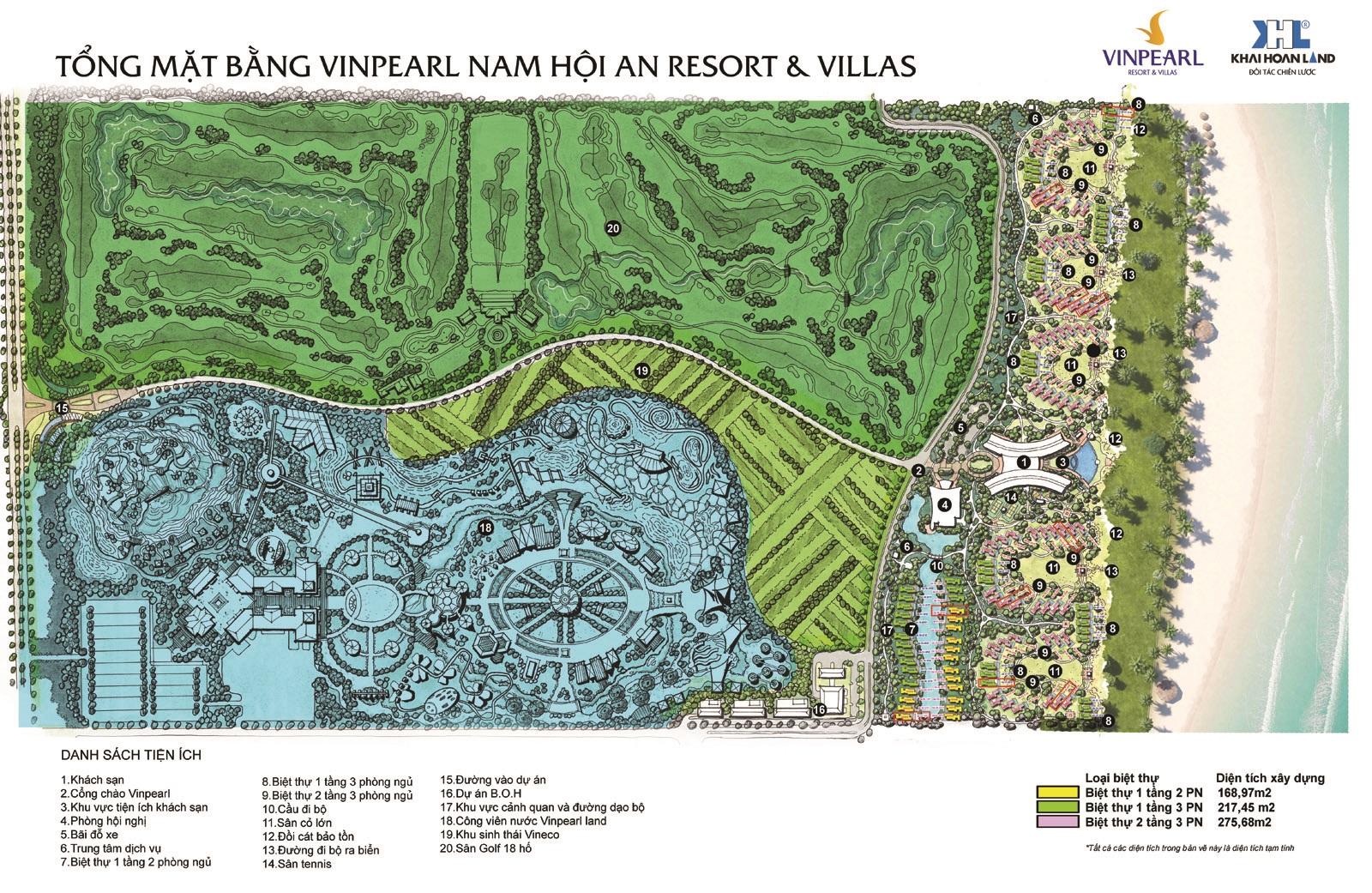Mặt bằng tổng thể dự án Vinpearl Nam Hội An - Quảng Nam.
