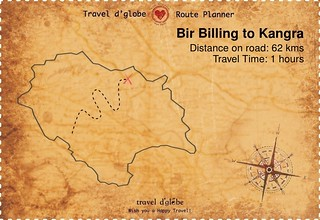 Map from Bir Billing to Kangra
