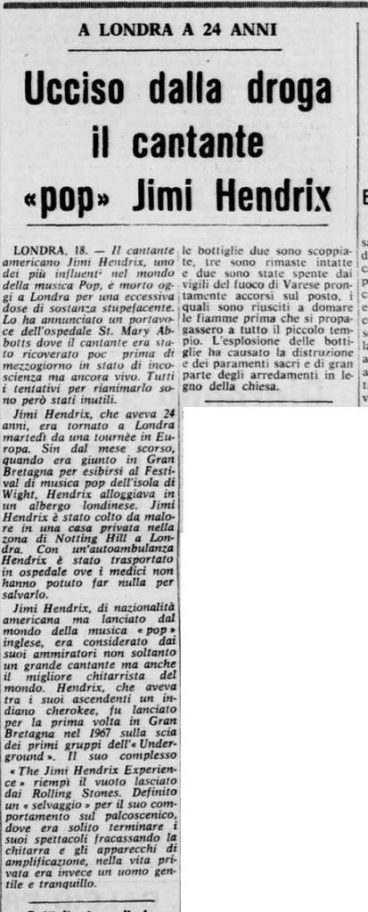 LA PROVINCIA (ITALY) SEPTEMBER 19,1970