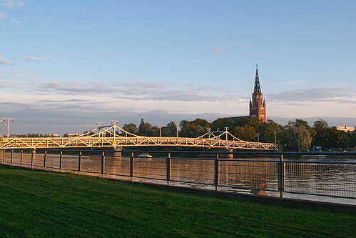 pori church river bridge silta kirkko joki ilta night autumn sunset
