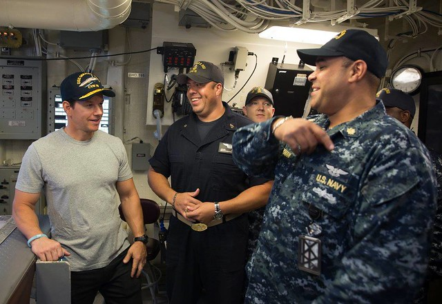 Actor Mark Wahlberg visits USS Gerald R. Ford