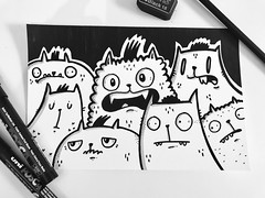 What are you doing right meow? Me? I'm just doodling cats. #draw #cartoon #illustration #doodle #cats #create #ink