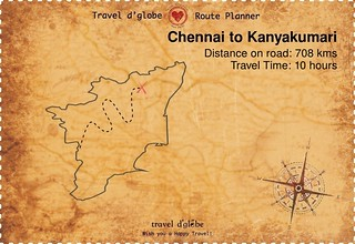 Map from Chennai to Kanyakumari