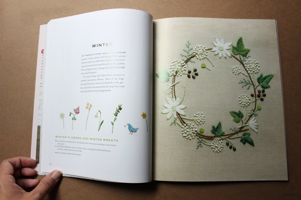 Winter wreath in The Embroidered Garden by Kazuko Aoki, reviewed by floresita on Feeling Stitchy