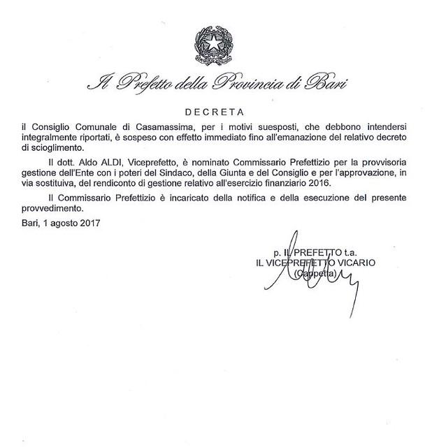 Decreto nomina Commissario Casamassima 3