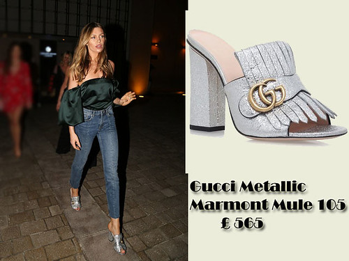 Gucci-Metallic-Marmont-Mule-105-with-a-green-silk-off-the-shoulder-top-&-blue-cropped-jeans, Green silk off the shoulder top, green silk Bardot top,  silky off-the-shoulder top, dark green silky off-the-shoulder top, fringed loafers mules, metallic silver fringed mules, silver metallic mules,  Gucci Metallic Marmont Mule 105, Gucci Metallic mules, cropped jeans