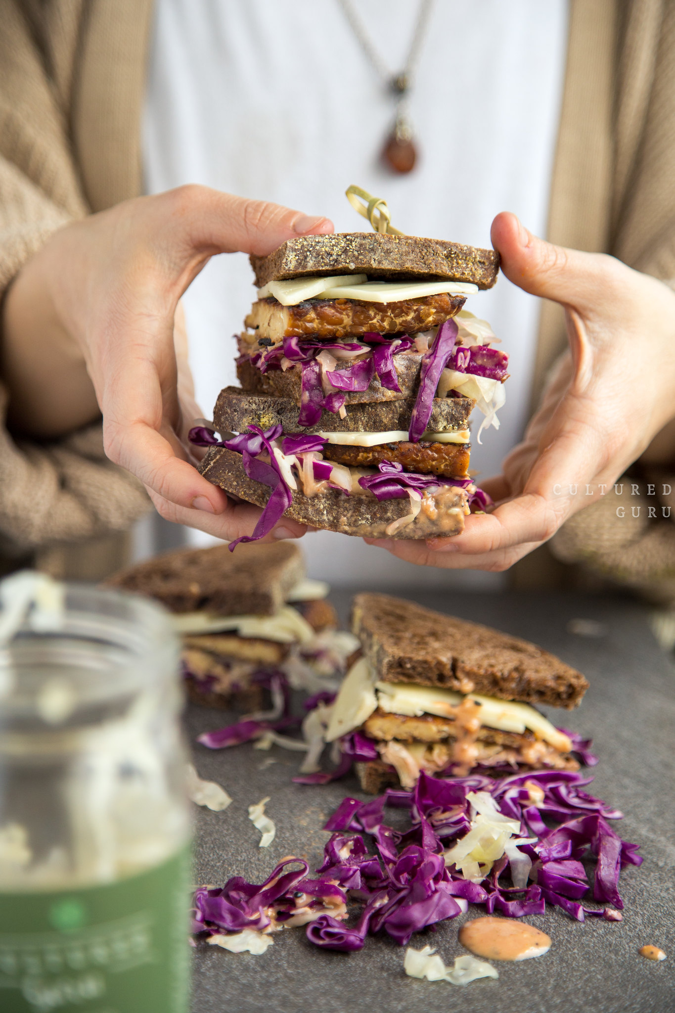 Vegan Recipe Tempeh Reuben Sandwiches with Probiotic Sauerkraut