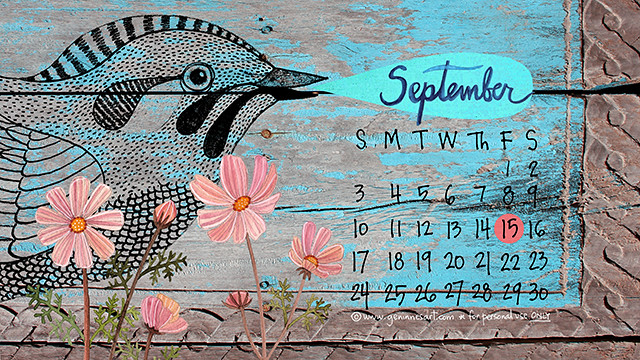 September 2017 desktop calendar