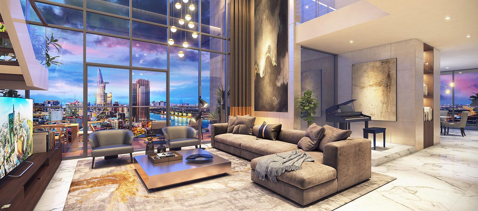 Trong vài phút cư dân Masteri Millennium q4 có thể tiếp cận hàng loạt tiện ích đẳng cấp tại trung tâm thành phố, ảnh phối cảnh penthouse, pentvilla Millennium.
