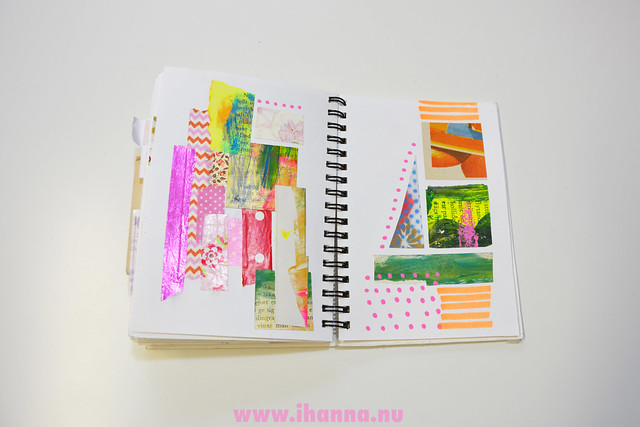 A page in iHanna's Tiny Scrap Notebook for warm up Collages