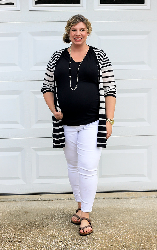 maternity white jeans, navy tee and navy stripe cardigan 1