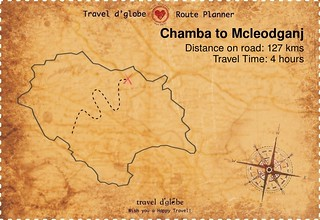 Map from Chamba to Mcleodganj
