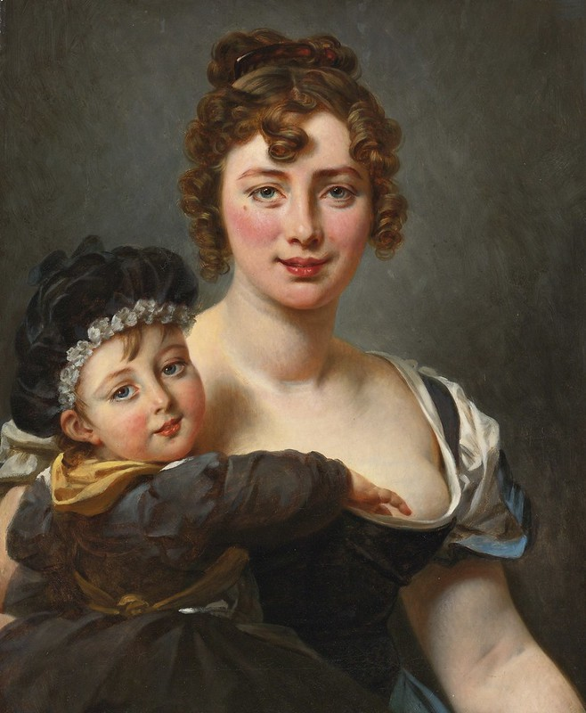 Baron Antoine-Jean Gros - Portrait of Françoise Simonnier and Her Daughter
