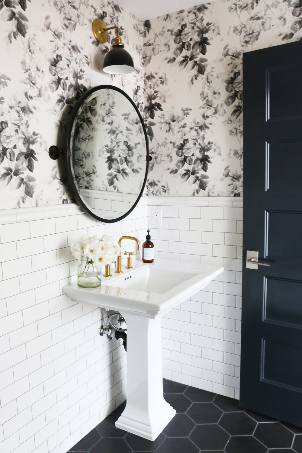 Black White Floral Wallpaper White Subway Tile Bathroom