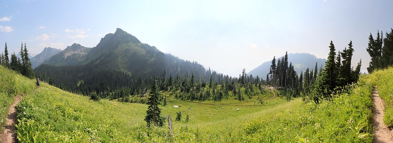 180-degree panorama of Buck Creek Pass from the Buck Creek Trail, our future campsite is right of center