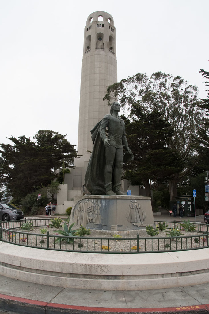Statue in front of Coit Tower in San Francisco