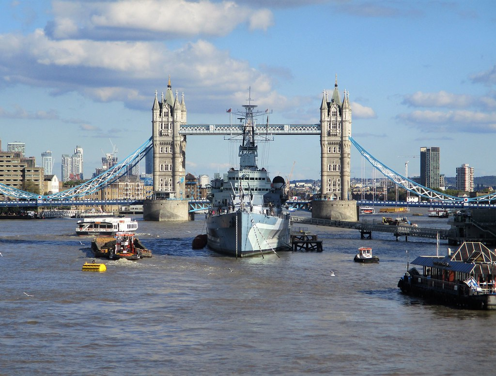 Thames and Tower Bridge with HMS Belfast