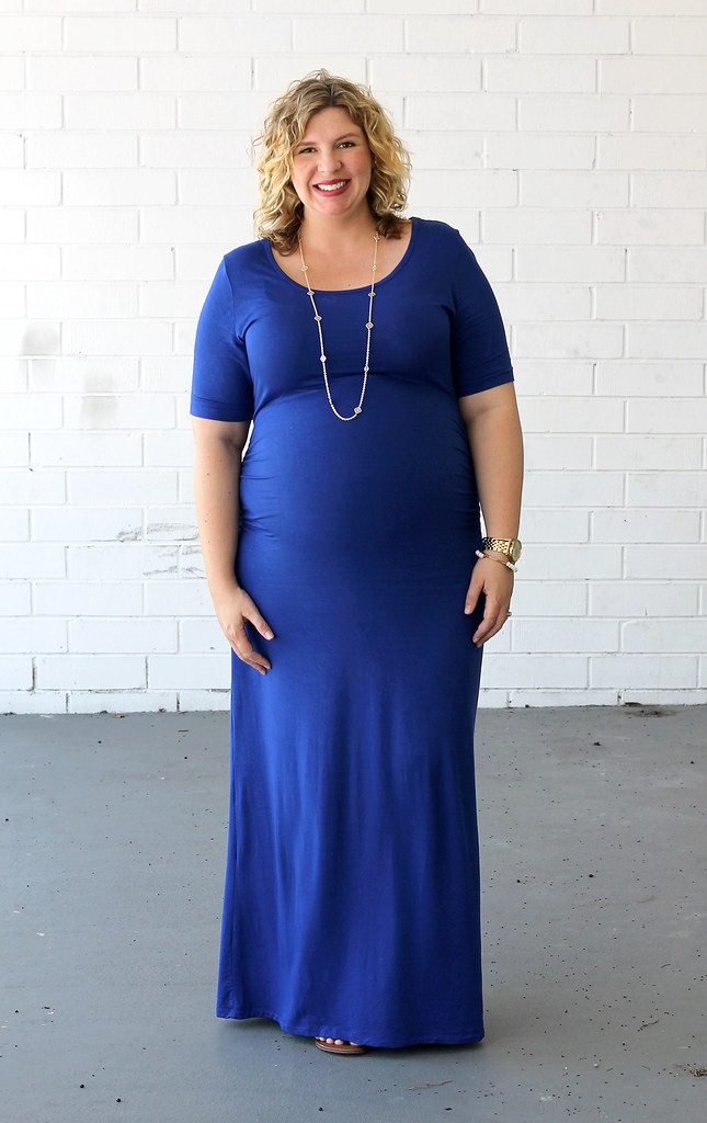 maternity blue maxi dress, medallion sandals 6